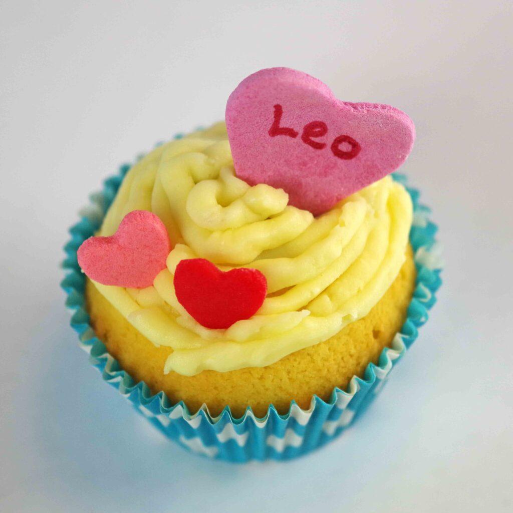 Cupcake med hjerter
